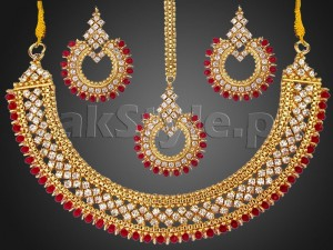 Red Gemstones Golden Jewellery Set Price in Pakistan