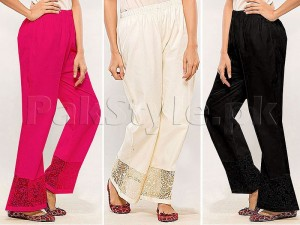 Pack of 3 Embroidered Cigarette Pants