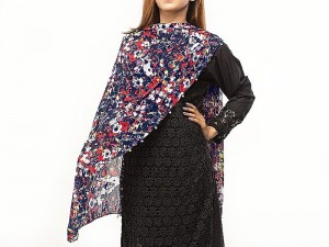 Multicolor Printed Net Scarf with Pearls Price in Pakistan