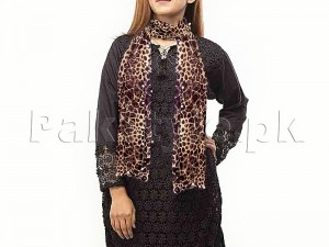 Leopard Print Net Scarf with Pearls Price in Pakistan