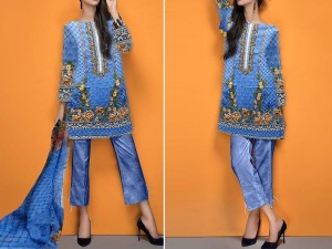 Embroidered Blue Cotton Suit with Net Dupatta Price in Pakistan