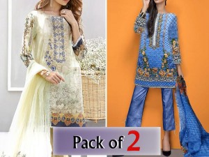Pack of 2 Embroidered Cotton Suits Price in Pakistan