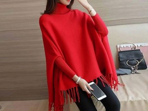 Red Poncho Style Fleece Top Price in Pakistan