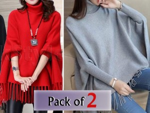 Pack of 2 Poncho Style Fleece Tops Price in Pakistan