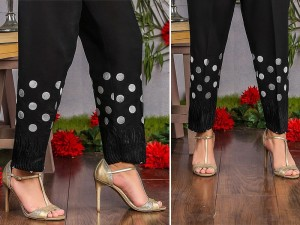 Polka Dot Embroidered Cigarette Pant - Black