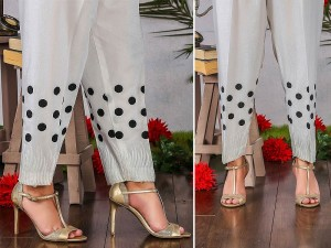 Polka Dot Embroidered Cigarette Pant - White