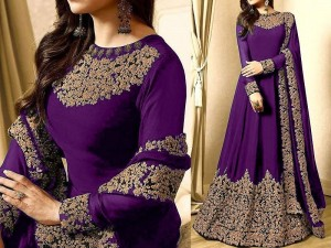 Indian Embroidered Purple Chiffon Maxi Price in Pakistan