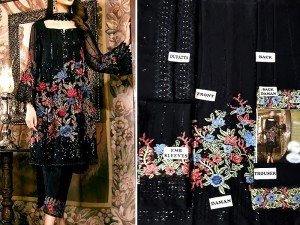 Embroidered Black Chiffon Party Dress Price in Pakistan