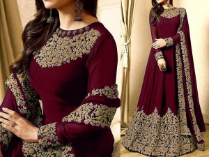 Indian Embroidered Maroon Chiffon Maxi