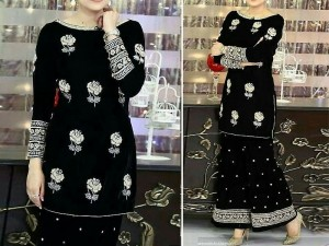 2 Pcs Embroidered Black Chiffon Dress Price in Pakistan