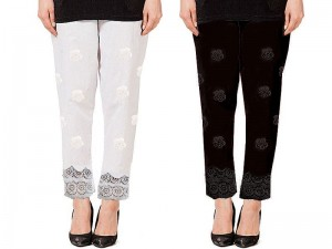 Pack of 2 Cotton Embroidered Cigarette Pants Price in Pakistan