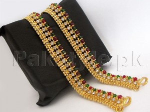Set of 2 Multicolor Stones Golden Anklets Price in Pakistan