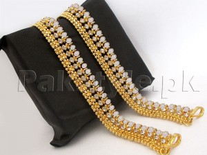 Set of 2 White Stones Golden Anklets Price in Pakistan