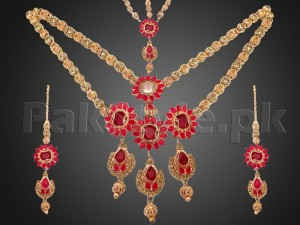 AD Stones Golden Bridal Jewelry Set Price in Pakistan