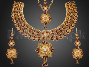 Red Gemstones Golden Bridal Jewelry Set Price in Pakistan
