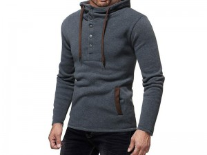 Men's Button Up Hooded Sweatshirt - Charcoal Price in Pakistan