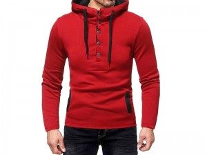 Men's Button Up Hooded Sweatshirt - Red Price in Pakistan