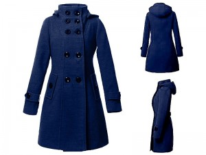 Women's Button Up Fleece Winter Coat - Navy Blue Price in Pakistan