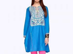 Embroidered Blue Cotton Kurti for Girls Price in Pakistan