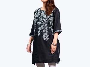 Zari Embroidered Black Cotton Kurti for Girls Price in Pakistan