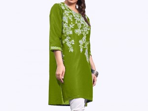 Zari Embroidered Green Cotton Kurti for Girls Price in Pakistan
