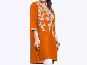 Zari Embroidered Orange Cotton Kurti for Girls Price in Pakistan