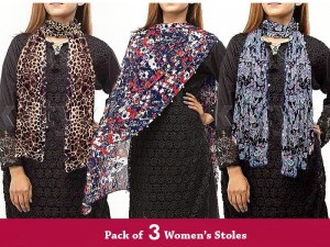 Pack of 3 Digital Stoles/Scarves for Girls Price in Pakistan