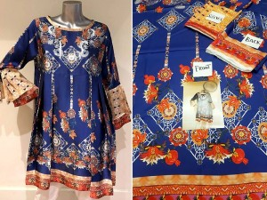 Un-Stitched Navy Blue Digital Print Silk Kurti Price in Pakistan
