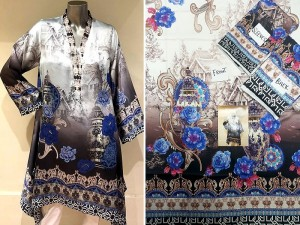 Un-Stitched Multicolor Digital Print Silk Kurti Price in Pakistan