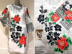 Un-Stitched White Digital Print Silk Kurti Price in Pakistan
