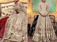 Heavy Embroidered Skin Net Bridal Maxi Dress Price in Pakistan