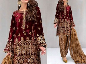 Embroidered Velvet Dress with Jamawar Trouser