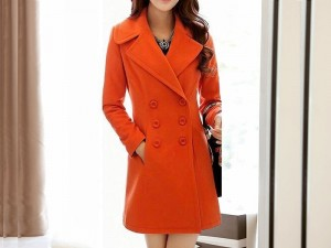 Women's Orange Fleece Winter Coat