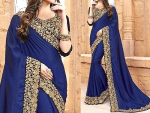 Indian Embroidered Navy Blue Chiffon Saree Price in Pakistan