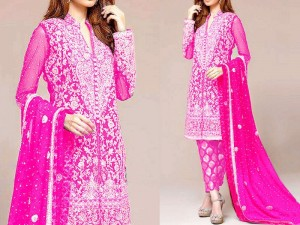 Embroidered Shocking Pink Chiffon Bridal Dress Price in Pakistan
