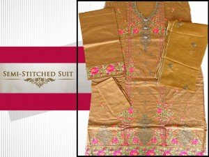 Semi Stitched Embroidered Cotton Dress Price in Pakistan