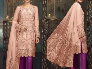 Luxury Heavy Embroidered Cotton Dress with Embroidered Net Dupatta Price in Pakistan