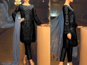 Luxury Cotton Dress with Embroidered Net Dupatta Price in Pakistan