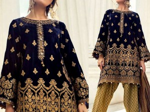 Embroidered Navy Blue Velvet Dress Price in Pakistan