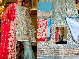 Heavy Embroidered Chiffon Suit with Jamawar Trouser Price in Pakistan