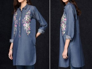Embroidered Blue Denim Kurti for Girls