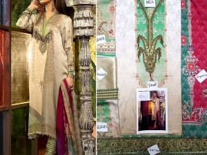 Embroidered Silk Dress with Silk Dupatta Price in Pakistan