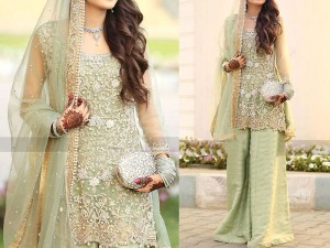 Heavy Embroidered Net Bridal Dress Price in Pakistan