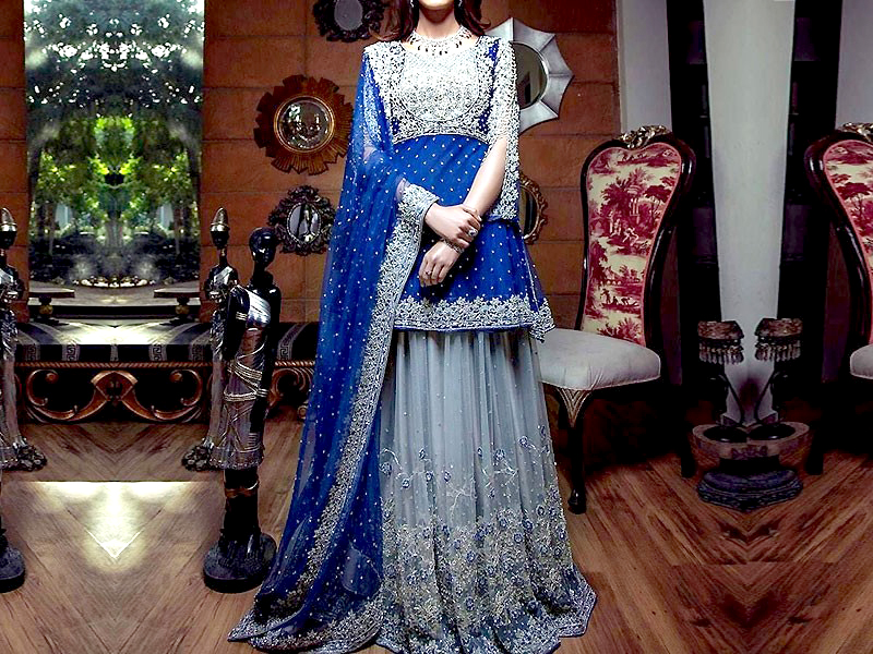 Embroidered Royal Blue Chiffon Bridal Dress Price in Pakistan