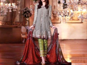Embroidered Net Party Dress with Jamawar Trouser Price in Pakistan
