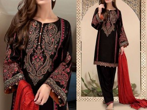 Embroidered Black Linen Suit with Shawl Dupatta Price in Pakistan