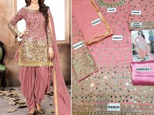 Embroidered Pink Chiffon Party Dress Price in Pakistan