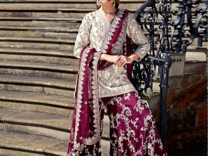 Embroidered Chiffon Dress with Embroidered Silk Trouser Price in Pakistan