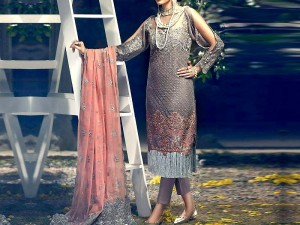 Handwork Embroidered Net Dress with Pearls Mala Price in Pakistan