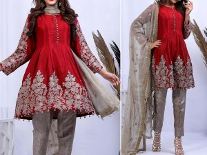 Embroidered Red Chiffon Dress with Net Dupatta Price in Pakistan